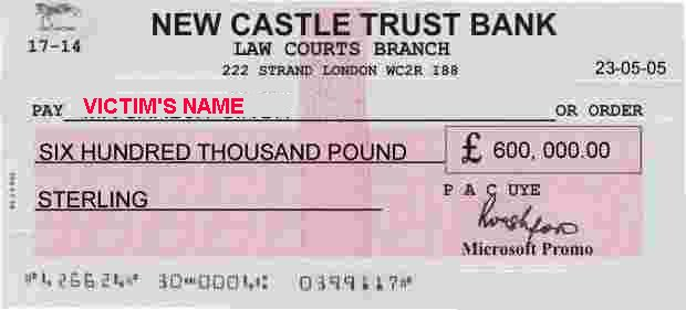 419 scam example uk national lottery lloyds bank plc an image of the followiing fake check was emailed to the victim after paying 650 ccuart Images